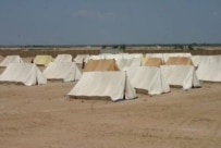 A tent camp erected outside Al-Najaf, south of Baghdad (epa)