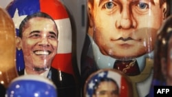 Russian matryoshka dolls with the images of Presidents Barack Obama and Dmitry Medvedev displayed in Moscow.