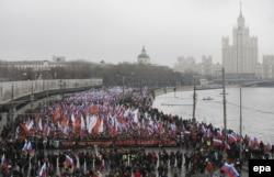 Вид на траурный марш памяти Бориса Немцова. Москва, 1 марта 2015 года.