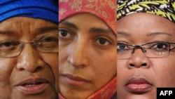 Претседателката на Либерија, Елен Џонсон Сирлиф и активистките Твакул Карман од Јемен и Леимах Гбовее од Либерија - добитнички на Нобеловата награда за мир за 2011 година.