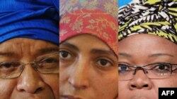 Лауреатки Нобелевской премии мира за 2011 год: Эллен Джонсон Сирлиф, Лейме Гбови и Тавакул Карман