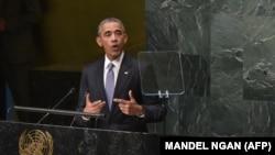 رئیسجمهور آمریکا در حال سخنرانی در هفتادمین نشست مجمع عمومی سازمان ملل