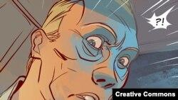 Кадр из комикса о Владимире Путине «Человек как все» из сайта www.superputin.ru.