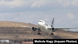 Romania, Tarom airplane takes off from Cluj-Napoca airport