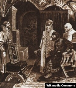 """Картина Виктора Муйжеля """"Посол Иван Фрезин вручает Ивану III портрет его невесты Софьи Палеолог""""."""