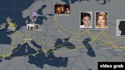 Гаяне Авакян мен Гүлнара Каримованың байланысын суреттейтін карта.
