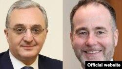 Министр иностранных дел Армении Зограб Мнацаканян (слева) и государственный министр Соединенного Королевства по вопросам Европы и Америки Кристофер Пинчер