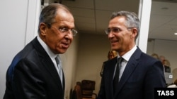 Russian Foreign Minister Sergei Lavrov (left) and NATO Secretary-General Jens Stoltenberg meet at UN headquarters in New York in September 2016.