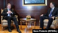 Евро-комесарот за проширување Штефан Филе на средба со црногорскиот претседател Филип Вујановиќ во Подгорица.