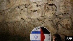 یک فعال چپ اسرائیلی پلاکاردی حاوی پرچمهای فلسطین و اسرائیل را در دست دارد/ عکس تزئینی است