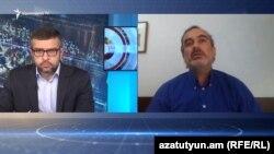 Жирайр Сефилян (справа) дает интервью Радио Азатутюн, 5 мая 2020 г.