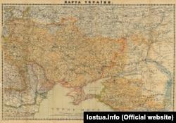 Мапа України 1918 року, укладена Степаном Рудницьким. (Щоб відкрити мапу у більшому форматі, натисніть на зображення. Відкриється у новому вікні)