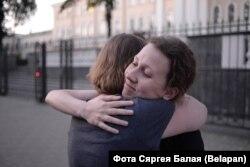 Ганна Ермачонак пасьля вызваленьня ўвечары 9 жніўня