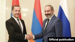 Russia - Russian Prime Minister Dmitry Medvedev and his Armenian counterpart Nikol Pashinian meet in Moscow, 14 Jun 2018.