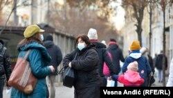 Србија - Предновогодишни празници за време на пандемијата на коронарниот вирус. Белград, 22 декември 2020 година.