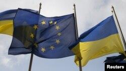 Եվրամիության և Ուկրաինայի դրոշները