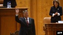 Klaus Iohannis în Parlamentul de la București, 21 decembrie 2014.