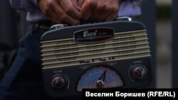 Old radio transmitter held as part of a protest for freedom of speech in Sofia, Bulgaria