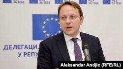 European Commissioner for European Neighborhood Policy and Enlargement Negotiations Oliver Varhelyi speaks to reporters in Belgrade on February 6.