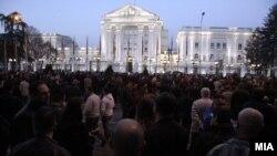 Участники протеста в Македонии против расширения сферы применения албанского языка.