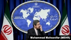 Iranian foreign ministry spokesman, Bahram Ghasemi speaks during a press conference in Tehran, on Monday January 2, 2017.