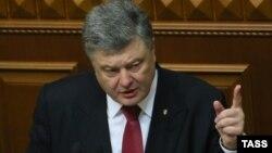 Украинскиот претседател Петро Порошенко за време на годишното обраќање воПарламентот.
