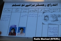 Raveena's entry in Mian Javed's conversion logbook, which Radio Mashaal was able to review.