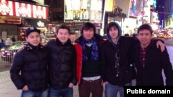 Fellow students pose with Dzhokhar Tsarnaev (2nd right) in a photo from Dias Kadyrbaev's VKontakte page.