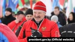 Аляксандар Лукашэнка падчас «Менскай лыжні»