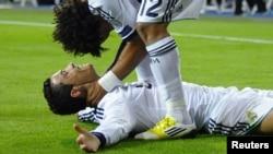 Cristiano Ronaldo qələbəni qeyd edərkən