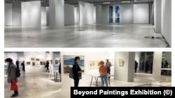 Част от пространството на изложбата - преди и след подредбата. Откакто е открита, изложбата се посещава от близо 100 души всеки ден.