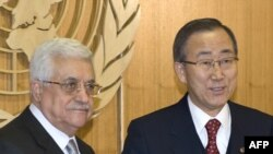 "UN Secretary-General Ban Ki-moon (right) called for restraint, as Palestinian leader Mahmud Abbas decried Israeli ""genocide."""