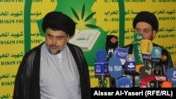 النجف الحكيم والصدر خلال مؤتمرهما الصحفي - النجف 28 آب 2014
