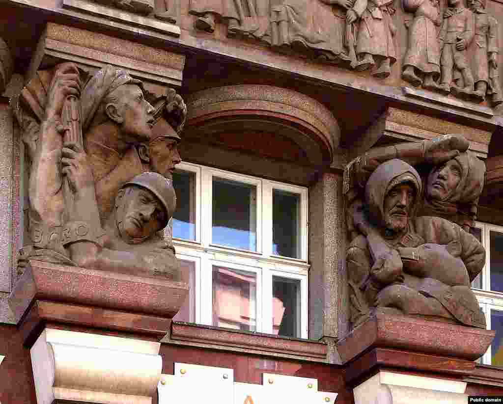 A century later, the Czechoslovak Legion's travails in Russia are remembered with a traveling museum and immortalized in monuments and in reliefs on a Prague building (pictured).