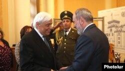 Armenian Prime Minister Nikol Pashinian receiving President of the Hellenic Republic Prokopis Pavlopoulos at the Government, Yerevan,5Nov2019