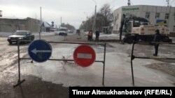 Место коммунальной аварии. Павлодар, 16 февраля 2017 года.