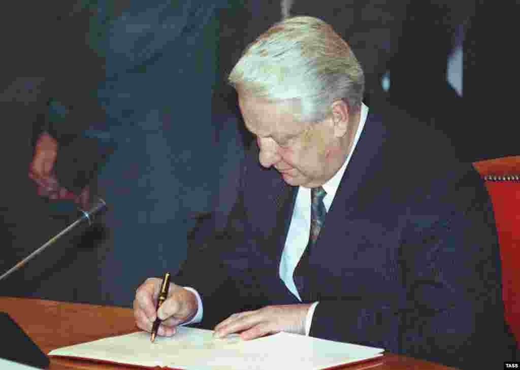 Yeltsin signing the protocol agreement on the creation of the CIS in Almaty on December 21, 1991 (TASS) - Events moved quickly. Less than two weeks after the Belarus summit, the heads of 11 Soviet republics -- all but the Baltic states and Georgia -- met in the Kazakh capital and formally created the commonwealth. In December 1993, Georgia joined, while in August 2005, Turkmenistan downgraded its participation to associate membership.
