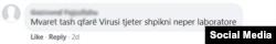 Koment i një përdoruesi të Facebook-ut.