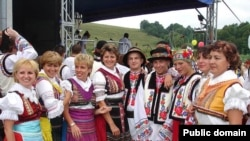 Rusyns in traditional folk dress in Ukraine