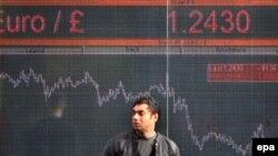 Электронное табло с финансовыми показателями фондовой биржи Лондона.