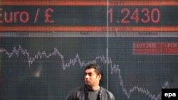 Індикатор курсу евро/фунт на вулиці Люндона, 10 жовтня 2008 р.