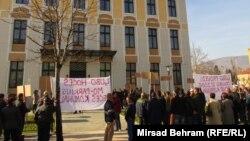 Protest radnika gradskog komunalnog preduzeća, Mostar, januar 2014.