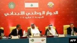 نخستين دور مذاکرات جناح های رقیب لبنان روز شنبه در دوحه قطر برای پايان دادن به بن بست سياسی اين کشور برگزار شد. (عکس از AFP)