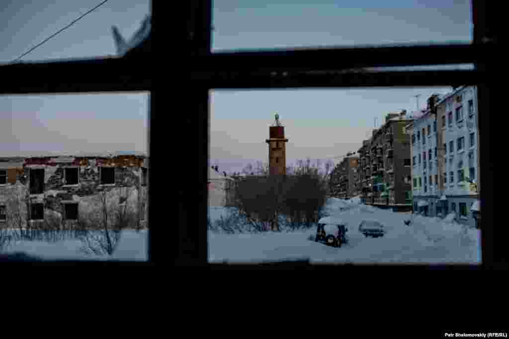 A view from an abandoned apartment in Vorkuta's Sovetskiy district