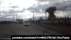 """Взрыв боезаряда ракеты для ЗРК """"Ангара"""" - кадр из видео, снятого на автомобильный регистратор"""