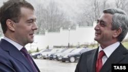 President Dmitry Medvedev (left) meeting his Armenian counterpart Serzh Sarkisian in Sochi in January.