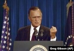 Президент США Джордж Буш під час прес-конференції в Білому домі. Вашингтон, 12 вересня 1991 року