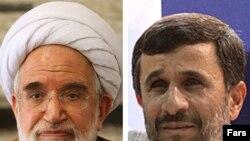 مهدی کروبی (چپ)، محمود احمدی نژاد (راست)