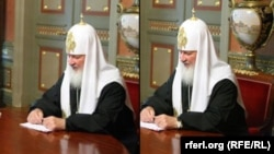 The original (right) and the doctored picture of Patriarch Kirill at a meeting with then Russian Justice Minister Aleksandr Konovalov in July 2009. Note the watch's reflection still visible in the table top in the doctored photo.