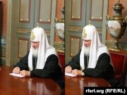 Відредагована фотографія (л) та її оригінал, на якій зображений Московський патріарх Кирило